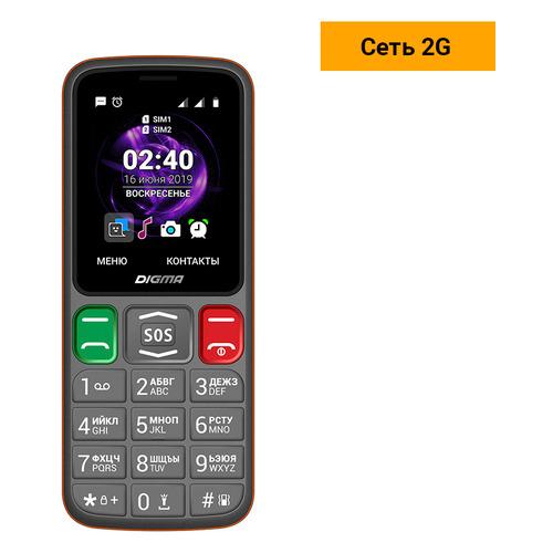 Мобильный телефон DIGMA Linx S240, серый/оранжевый