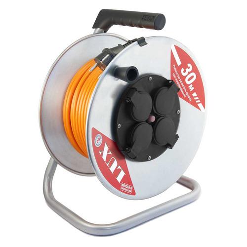 Удлинитель силовой LUX К4-Е-30 (50130) 3x1.5кв.мм 4розет. 30м ПВС 16A метал.катушка удлинитель силовой lux к4 е 30 40130 3x1 5кв мм 4розет 30м пвс 16a метал катушка