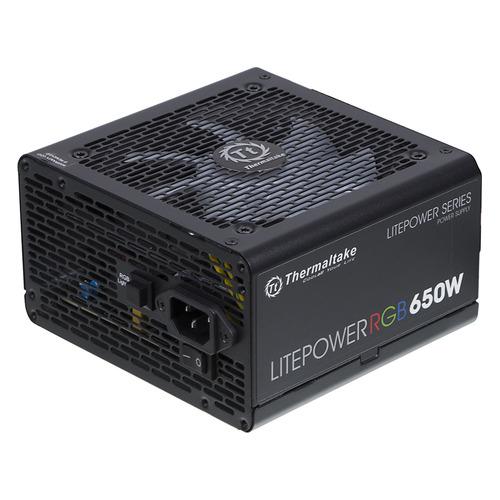 Блок питания THERMALTAKE Litepower RGB 650, 650Вт, 120мм, черный, retail [ps-ltp-0650nhsane-1] блок питания gigabyte gp p650b 650вт 120мм серебристый retail