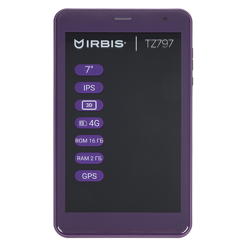 Планшет IRBIS TZ797, 2GB, 16GB, 3G, 4G, Android 8.1 фиолетовый