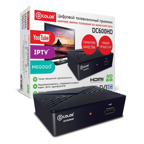 Ресивер DVB-T2 D-COLOR DC600HD, черный ресивер dvb t2 d color dc902hd
