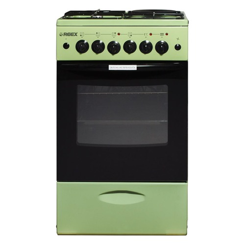 Газовая плита REEX CGE-531, электрическая духовка, без крышки, зеленый газовая плита reex cge 540 ecbk