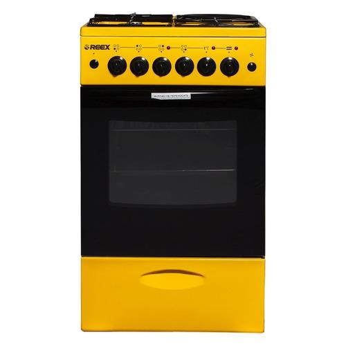 Газовая плита REEX CGE-531, электрическая духовка, без крышки, желтый газовая плита reex cge 540 ecbk