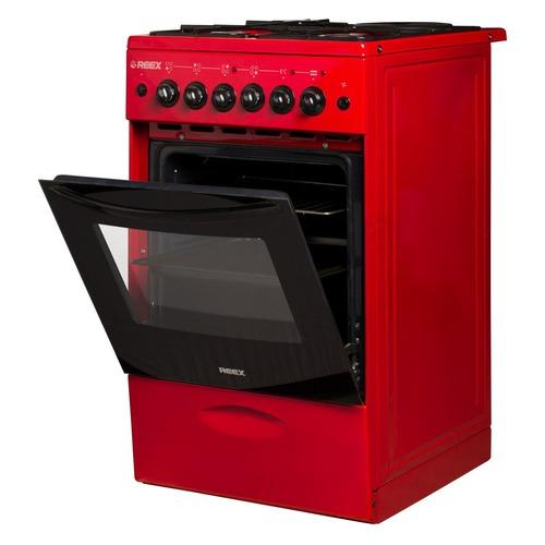 Газовая плита REEX CGE-531969, электрическая духовка, стеклянная крышка, красный газовая плита reex cge 540 ecbk