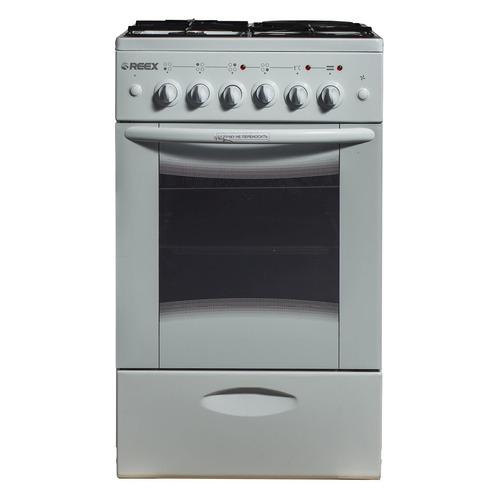 Газовая плита REEX CGE-531969, электрическая духовка, стеклянная крышка, белый газовая плита reex cge 540 ecbk