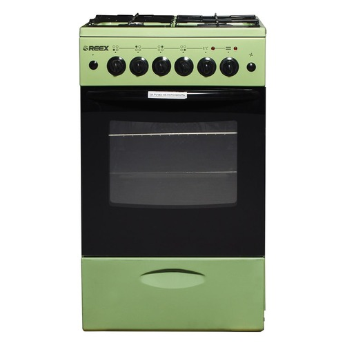 Газовая плита REEX CGE-540, электрическая духовка, без крышки, зеленый газовая плита reex cge 540 ecbk
