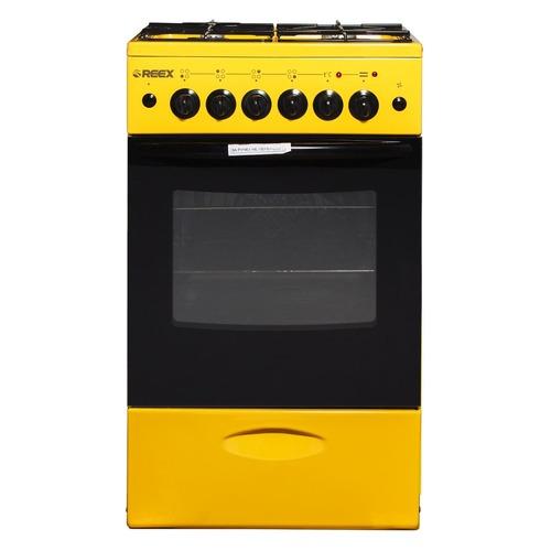 Газовая плита REEX CGE-540, электрическая духовка, без крышки, желтый газовая плита reex cge 540 ecbk