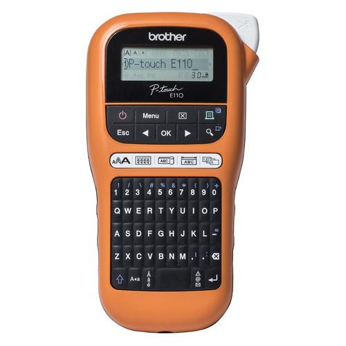 Фото - Термопринтер Brother P-touch PTE-110VP (для печ.накл.) переносной оранжевый/черный лента ламинирования brother tz221 9мм для p touch черный на белом