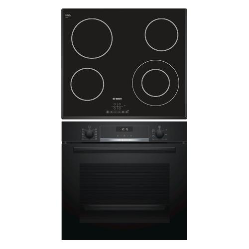 Встраиваемый комплект Bosch HBG537NB0R + PKF651B17 черный/черный