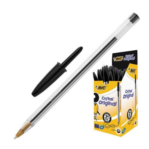 Упаковка ручек шариковых BIC Cristal, 1 стержень, 1мм, черный, коробка картонная [847897] 50 шт./кор.