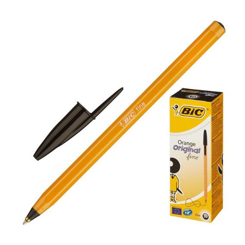 Упаковка ручек шариковых BIC Orange, 1 стержень, 0.8мм, черный, коробка картонная [8099231] 20 шт./кор.