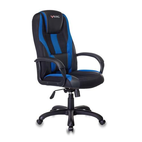 Кресло игровое БЮРОКРАТ VIKING-9, на колесиках, искусственная кожа/ткань, черно-синий [viking-9/bl+blue] кресло офисное персона persona доступные цвета обивки искусств чёрная кожа