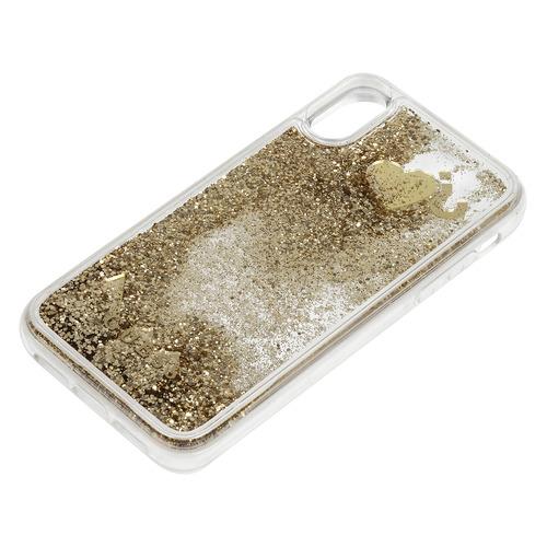 Чехол (клип-кейс) Guess Glitter Gold, для Apple iPhone XR, золотистый [guhci61glhflgo] клип кейс guess iridescent для apple iphone x золотистый