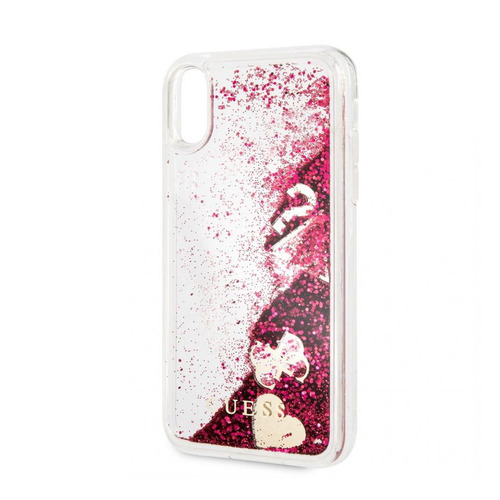 Чехол (клип-кейс) Guess Glitter Raspberry, для Apple iPhone XR, малиновый [guhci61glhflra] цена и фото