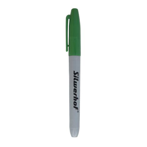 Упаковка перманентных маркеров SILWERHOF Base, 2.5 мм, пулевидный пишущий наконечник, зеленый 12 шт./кор. упаковка напалечников для бумаг silwerhof 17мм диам 28мм выс резина зеленый [672202] 10 шт кор