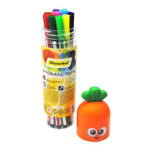 Упаковка фломастеров SILWERHOF Солнечная коллекция Carrot, смываемые, 12 цв., пластиковая туба [867223-12] 20 шт./кор. упаковка лезвий silwerhof 461004 коробка пластиковая 10 шт кор