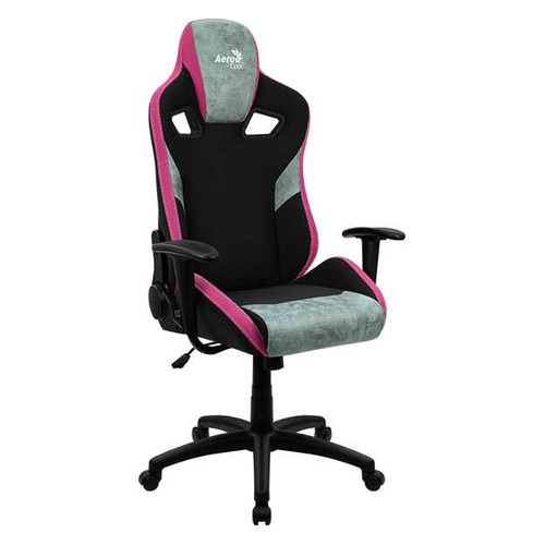 Кресло игровое Aerocool Count Teal Green, на колесиках, ткань, черный/зеленый