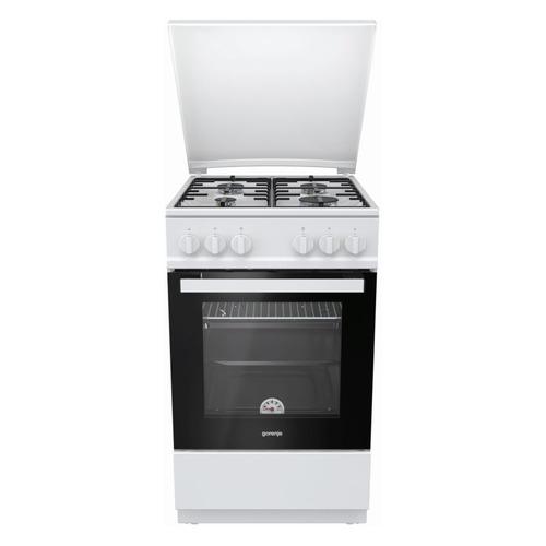 Газовая плита GORENJE G5111WH-B, газовая духовка, металлическая крышка, белый газовая плита gorenje gi5121wh газовая духовка белый