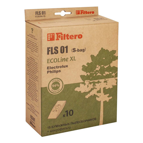 Пылесборники FILTERO FLS 01 ECOLine XL, бумажные, 10 шт., подходит для пылесосов AEG, BORK, ELECTROLUX, PHILIPS, ZANUSSI