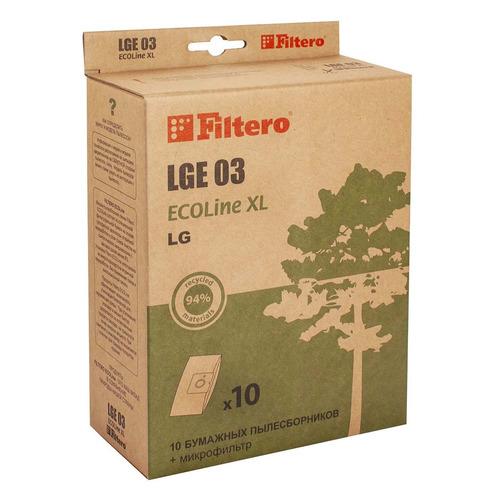 Пылесборники FILTERO LGE 03 ECOLine XL, бумажные, 10 шт., подходит для CLATRONIC, LG, ROLSEN пылесборники filtero lge 01 эконом бумажные 4пылесбор