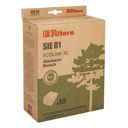 Пылесборники FILTERO SIE 01 ECOLine XL, бумажные, 10 шт., подходит для BOSCH, CONTI, KARCHER, SHIVAKI, SIEMENS, UFESA