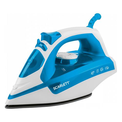лучшая цена Утюг SCARLETT SC-SI30P17, 2200Вт, синий/ белый