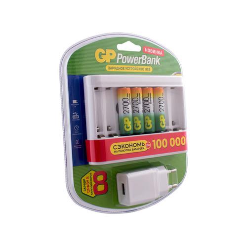 AA Аккумулятор + зарядное устройство GP PowerBank U811GS270AAHC (GPU), 4 шт. 2700мAч аккумулятор зарядное устройство gp powerbank pb410gs130 2 шт aa 1300мaч