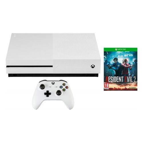 цена на Игровая консоль MICROSOFT Xbox One S с 1 ТБ памяти, игрой RESIDENT EVIL 2, белый