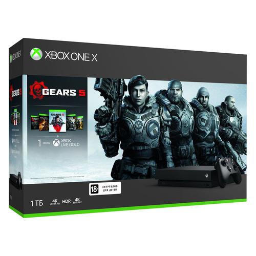Игровая консоль MICROSOFT Xbox One X с 1ТБ памяти, играми: Gears 5, Gears of War: Ultimate Edition, Gears of War 2, 3, 4, CYV-00331, черный стоимость