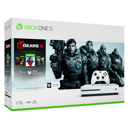 цена на Игровая консоль MICROSOFT Xbox One S с 1 ТБ памяти, играми: Gears 5, Gears of War: Ultimate Edition, Gears of War 2, 3, 4, 234-01030, белый