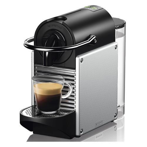 Фото - Капсульная кофеварка DELONGHI Nespresso Pixie EN124.S, 1260Вт, цвет: серебристый [0132191837] delonghi en 125 r pixie