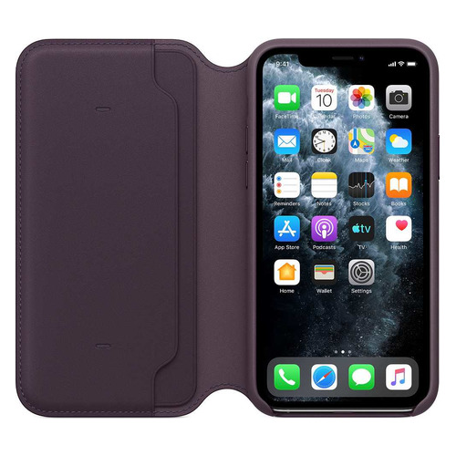Чехол (флип-кейс) APPLE Leather Folio, для Apple iPhone 11 Pro, фиолетовый [mx072zm/a] чехол флип кейс apple leather folio для apple iphone 11 pro зеленый павлин [my1m2zm a]
