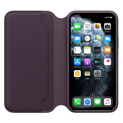 Чехол (флип-кейс) APPLE Leather Folio, для Apple iPhone 11 Pro Max, фиолетовый [mx092zm/a] чехол флип кейс apple leather folio для apple iphone 11 pro зеленый павлин [my1m2zm a]