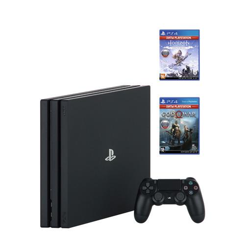 Игровая консоль PLAYSTATION 4 Pro с 1 ТБ памяти, играми God of War, Horizon: Zero Dawn, PS719994602, черный цена 2017