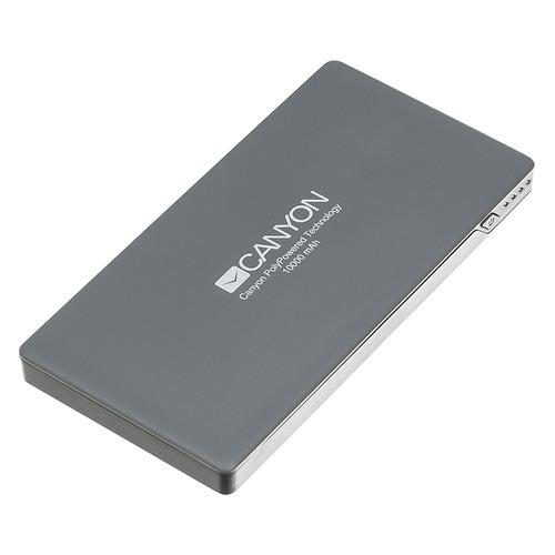 цена Внешний аккумулятор (Power Bank) CANYON KZH2CNSTPBP10DG, 10000мAч, темно-серый [cns-tpbp10dg] онлайн в 2017 году
