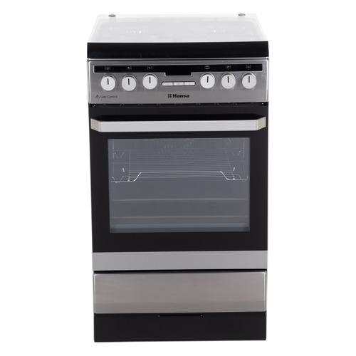 Газовая плита HANSA FCMX59221, электрическая духовка, стеклянная крышка, нержавеющая сталь