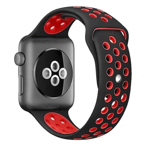 Ремешок DF iSportband-01 для Apple Watch Series 3/4/5 черный/красный (DF ISPORTBAND-01 (BLACK/RED)) DF