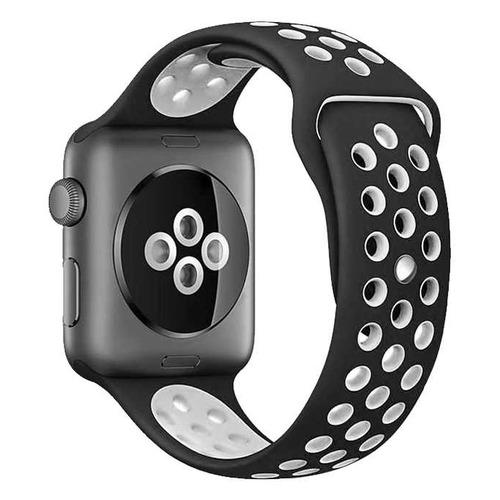 Ремешок DF iSportband-01 для Apple Watch Series 3/4/5 черный/белый (DF ISPORTBAND-01 (BLACK/WHITE)) DF