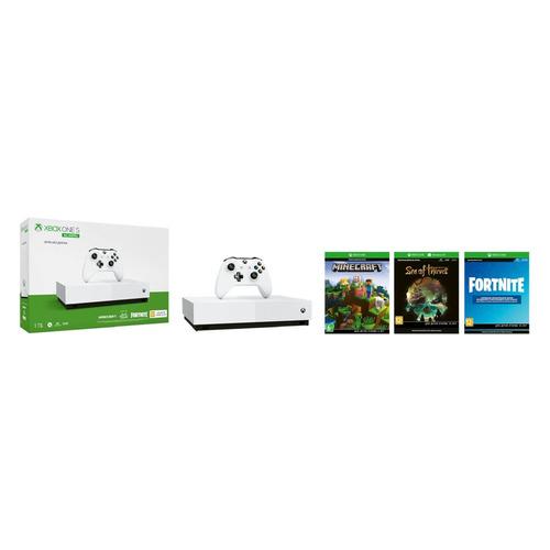 Игровая консоль MICROSOFT Xbox One S с 1 ТБ памяти, играми: Minecraft, Sea of Thieves, Fortnite, All-Digital Edition, белый MICROSOFT