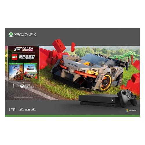 Игровая консоль MICROSOFT Xbox One X с 1ТБ памяти, играми: Forza Horizon 4, Lego DLC, CYV-00469, черный MICROSOFT