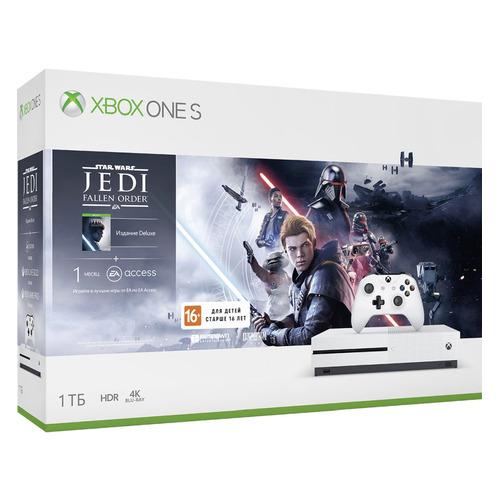 Игровая консоль MICROSOFT Xbox One S с 1 ТБ памяти, игрой: Star Wars Jedi Fallen Order, 234-01099, белый цена и фото