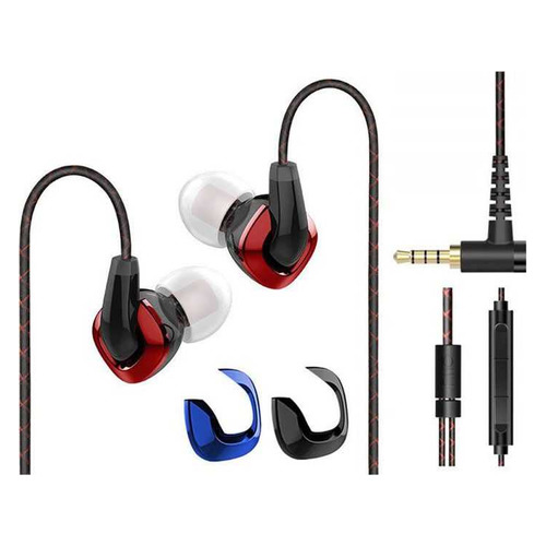 Наушники с микрофоном Fiio F9, 2.5 мм/3.5 мм, вкладыши, красный [15119652] NONAME