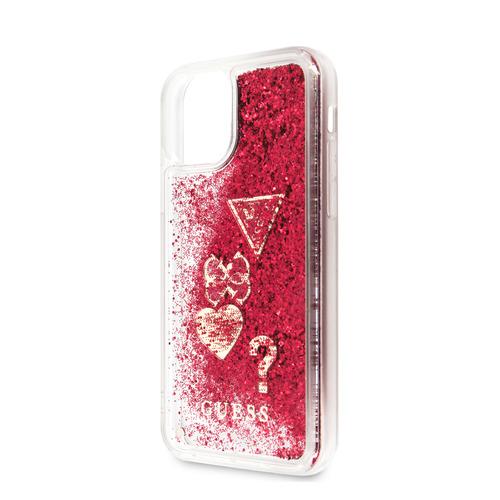 Чехол (клип-кейс) Guess Glitter, для Apple iPhone 11, малиновый [guhcn61glhflra]