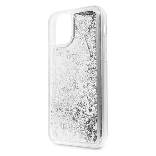Чехол (клип-кейс) Guess Glitter, для Apple iPhone 11 Pro Max, серебристый [guhcn65glhflsi]