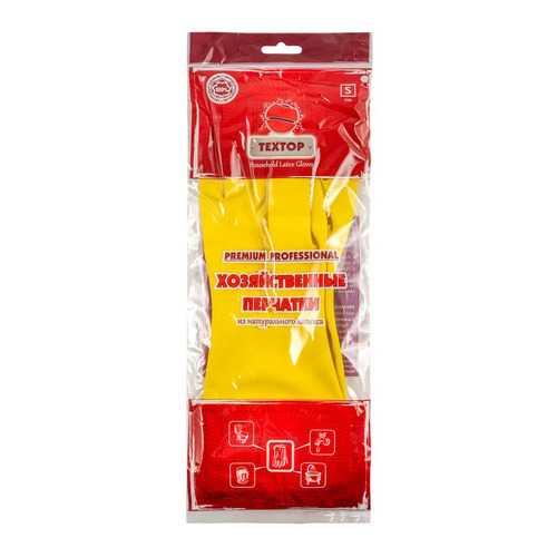 Перчатки хлопок TEXTOP многоразовые, размер: S, латекс, 1 пара [t213]
