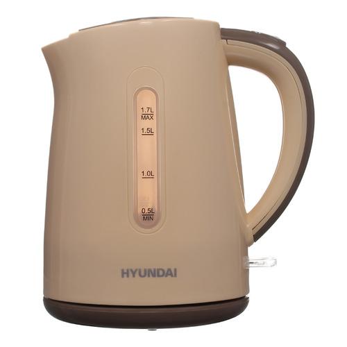 Чайник электрический HYUNDAI HYK-P2022, 2200Вт, бежевый и коричневый HYUNDAI