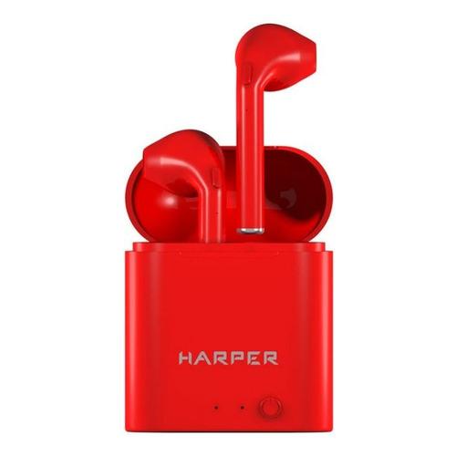 Наушники с микрофоном HARPER HB-508, Bluetooth, вкладыши, красный [h00002579] гарнитура harper hb 508 вкладыши белый беспроводные bluetooth