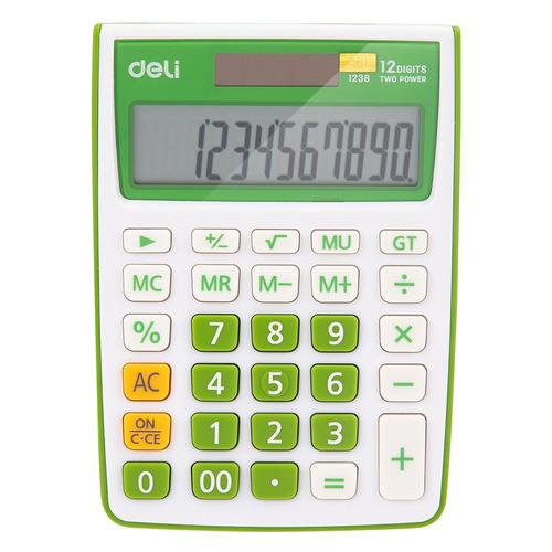 Калькулятор Deli E1238/GRN, 12-разрядный, зеленый