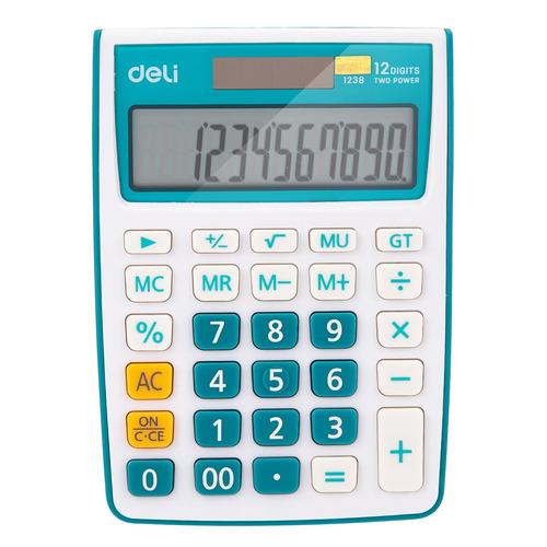 Калькулятор Deli E1238/BLUE, 12-разрядный, синий