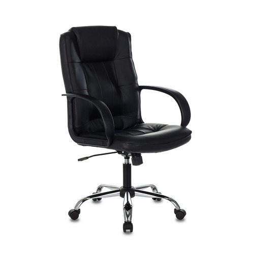 Кресло руководителя БЮРОКРАТ T-800N, на колесиках, кожа, черный [t-800n/black]